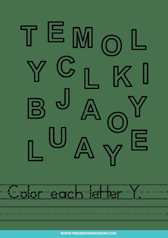 printable letter recognition worksheets PDF letter Y recognition worksheets