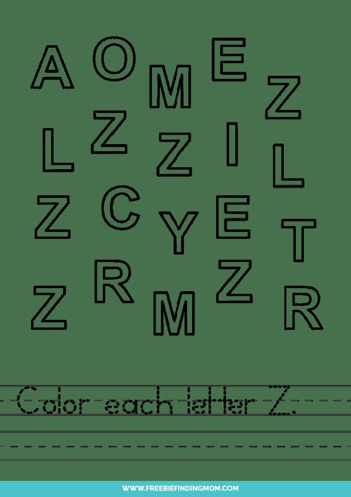 printable letter recognition worksheets PDF letter Z recognition worksheets