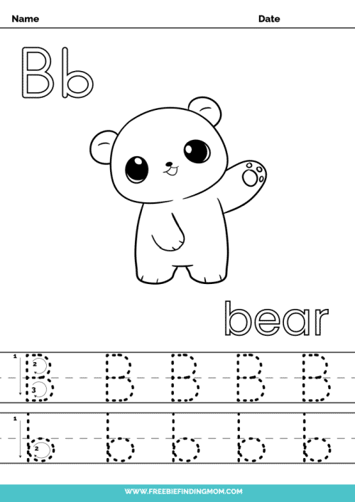printable letter tracing worksheets PDF tracing letter B