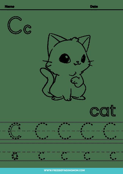 printable letter tracing worksheets PDF tracing letter C