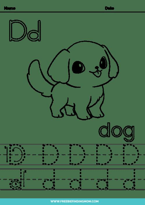 printable letter tracing worksheets PDF tracing letter D