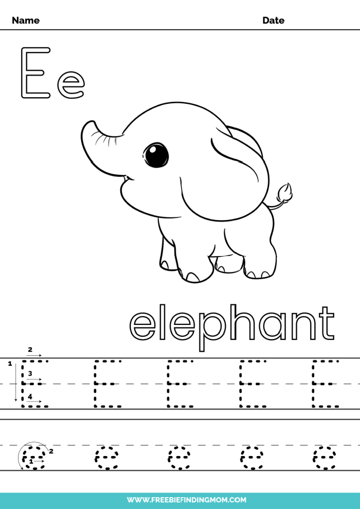 printable letter tracing worksheets PDF tracing letter E
