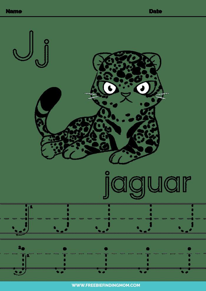 printable letter tracing worksheets PDF tracing letter J