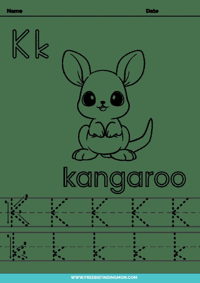printable letter tracing worksheets PDF tracing letter K