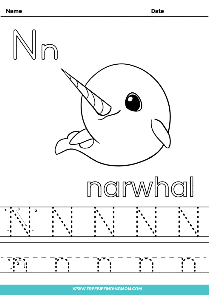 printable letter tracing worksheets PDF tracing letter N