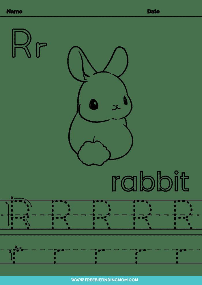 printable letter tracing worksheets PDF tracing letter R