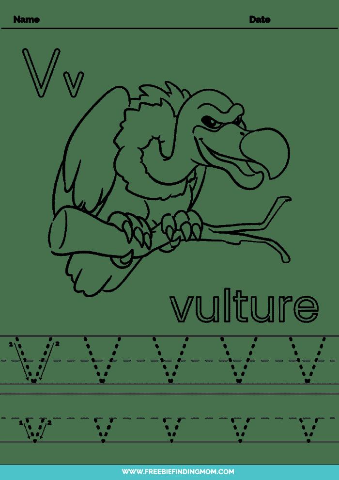printable letter tracing worksheets PDF tracing letter V