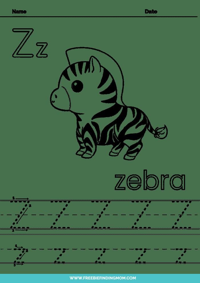 printable letter tracing worksheets PDF tracing letter Z