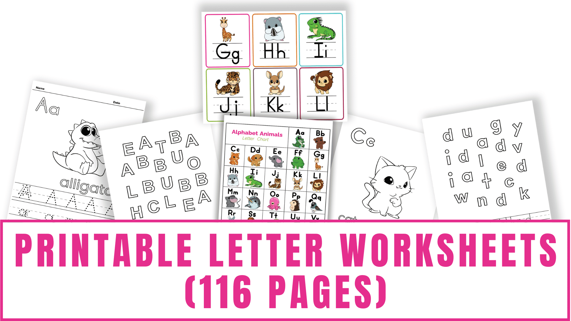 In this bundle of printable letter worksheets you will find kindergarten and preschool letter recognition worksheets, letter tracing worksheets, an ABC chart printable for kids, printable letter flashcards, and words that start with worksheets.