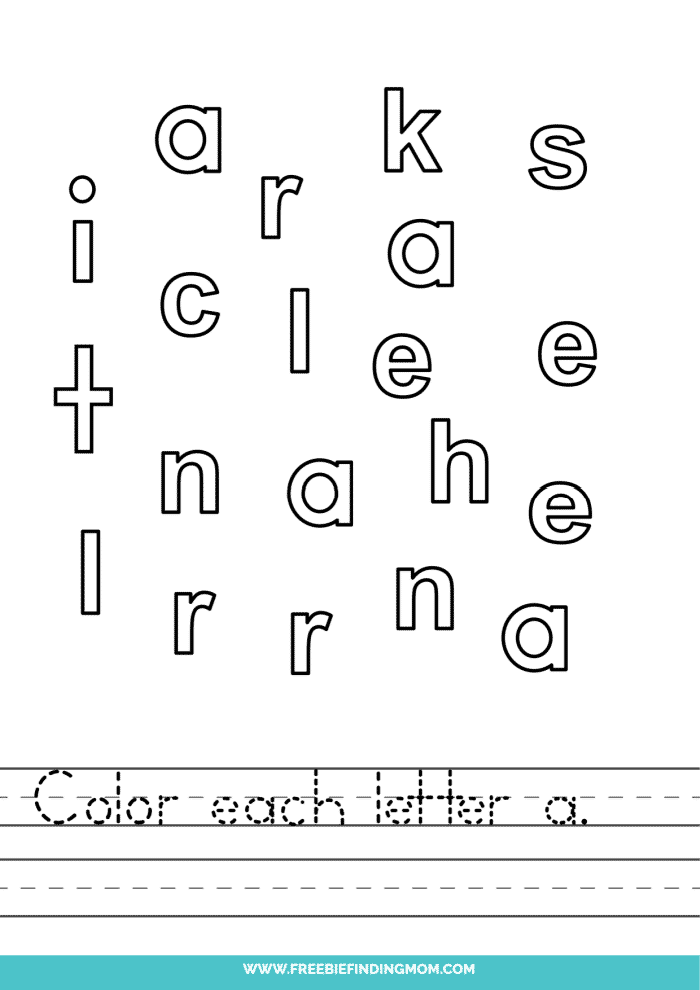 printable lowercase A letter recognition worksheets PDF