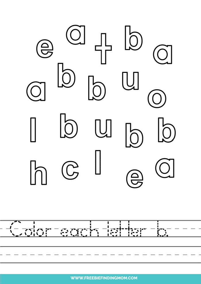 printable lowercase B letter recognition worksheets PDF
