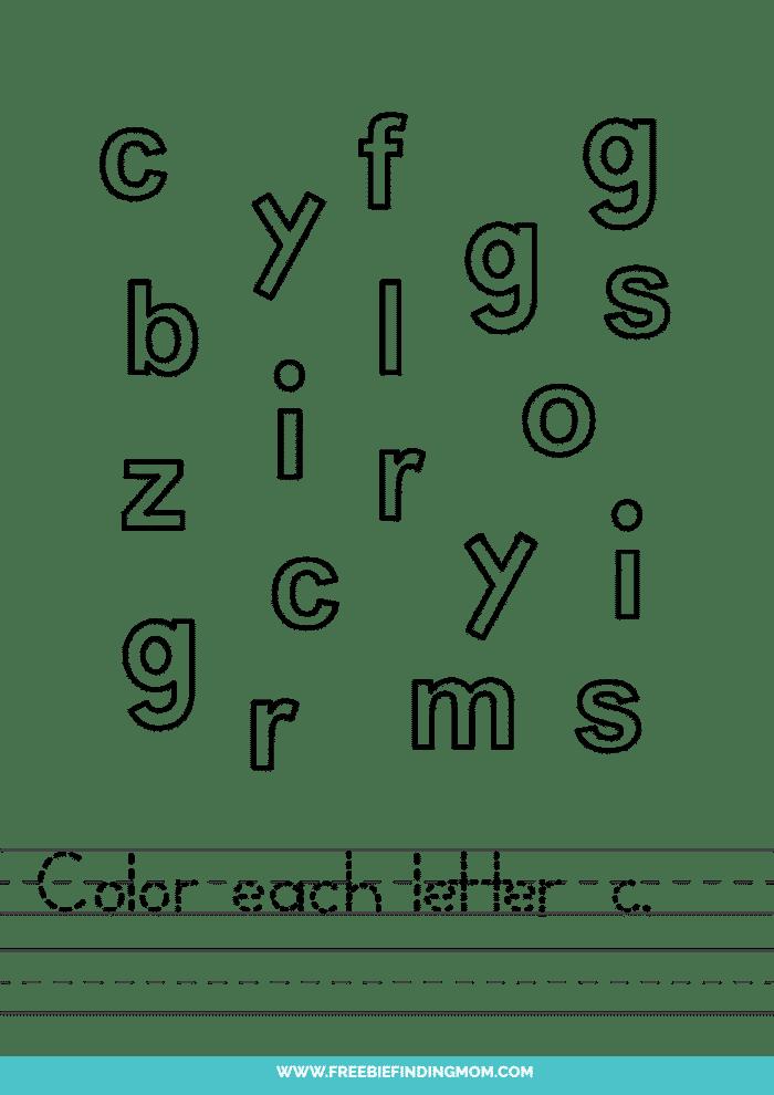 printable lowercase C letter recognition worksheets PDF