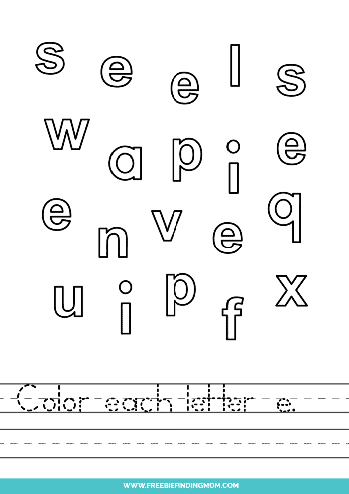 printable lowercase E letter recognition worksheets PDF