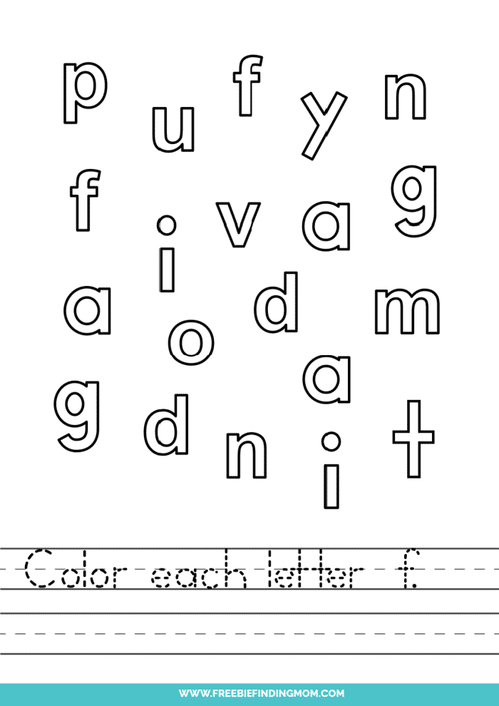 printable lowercase F letter recognition worksheets PDF