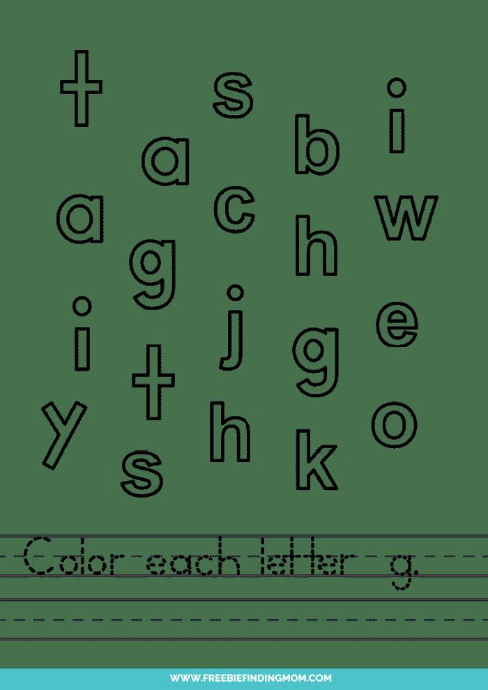 printable lowercase G letter recognition worksheets PDF