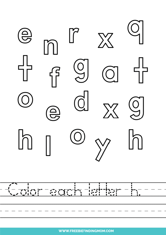printable lowercase H letter recognition worksheets PDF
