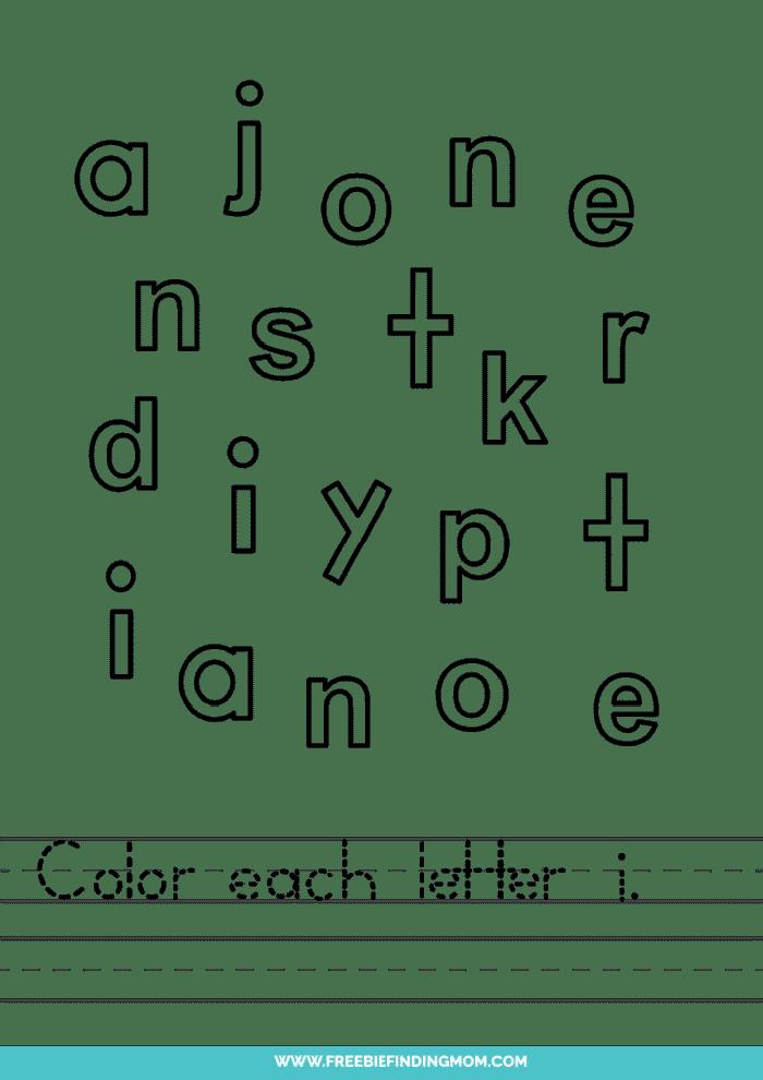 printable lowercase I letter recognition worksheets PDF