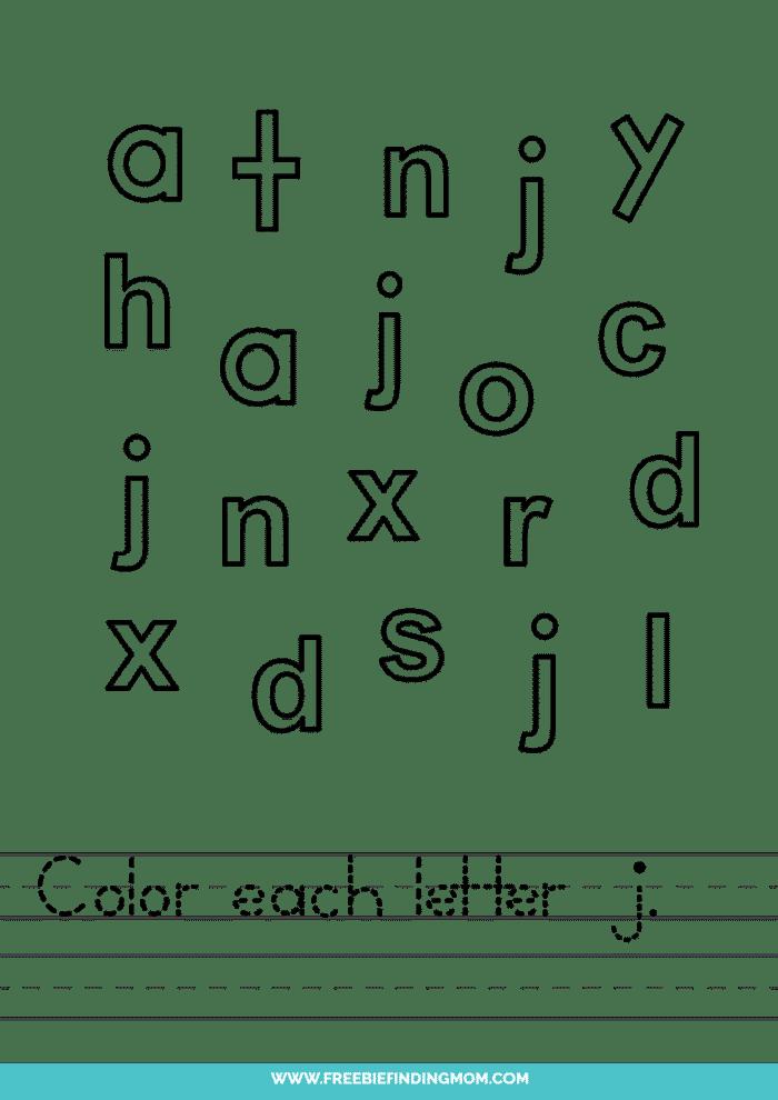 printable lowercase J letter recognition worksheets PDF