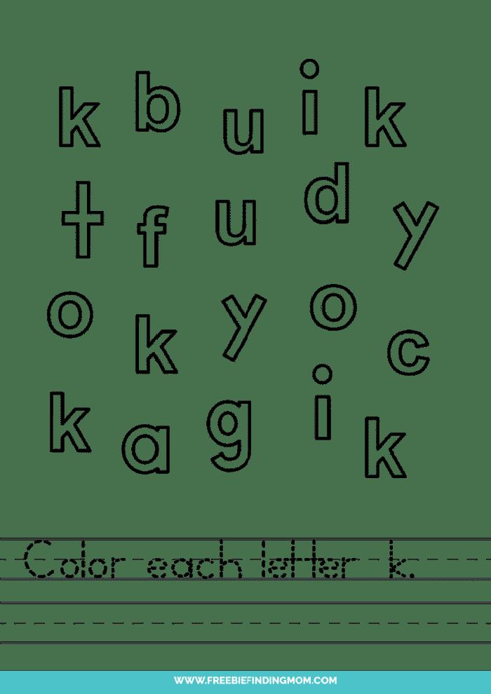 printable lowercase K letter recognition worksheets PDF