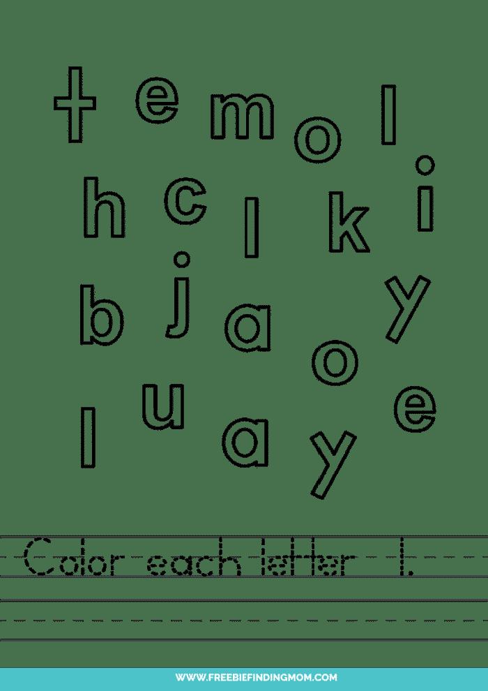 printable lowercase L letter recognition worksheets PDF