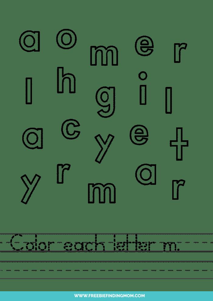 printable lowercase M letter recognition worksheets PDF