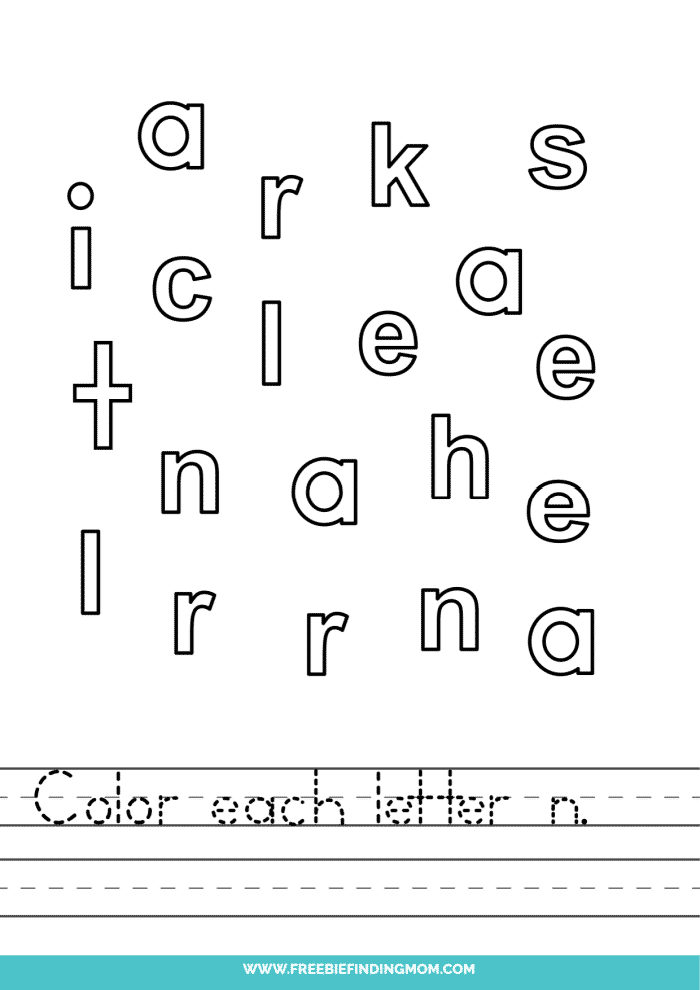 printable lowercase N letter recognition worksheets PDF