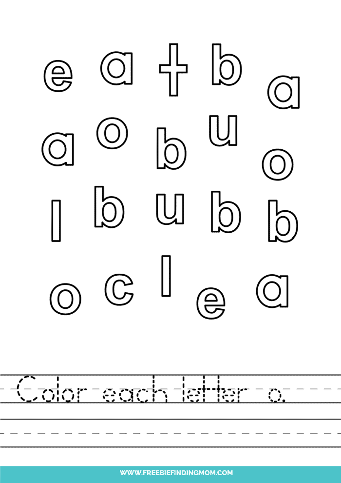 printable lowercase O letter recognition worksheets PDF