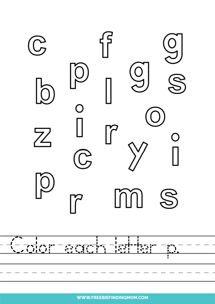 printable lowercase P letter recognition worksheets PDF
