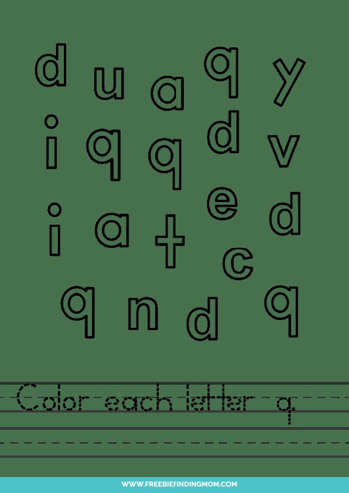 printable lowercase Q letter recognition worksheets PDF