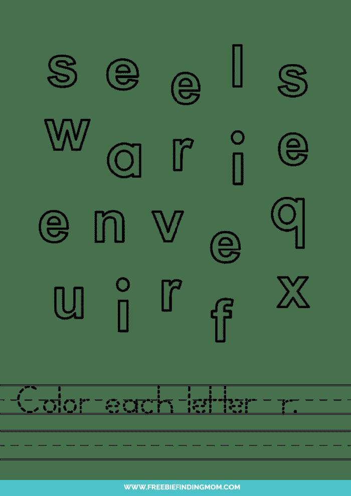 printable lowercase R letter recognition worksheets PDF