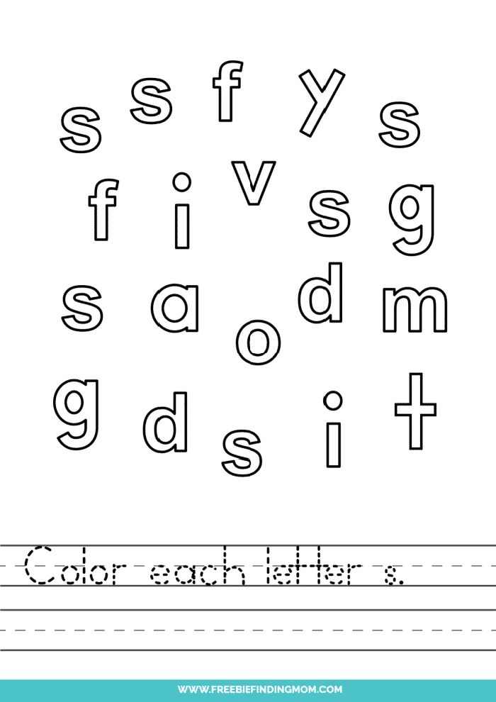 printable lowercase S letter recognition worksheets PDF