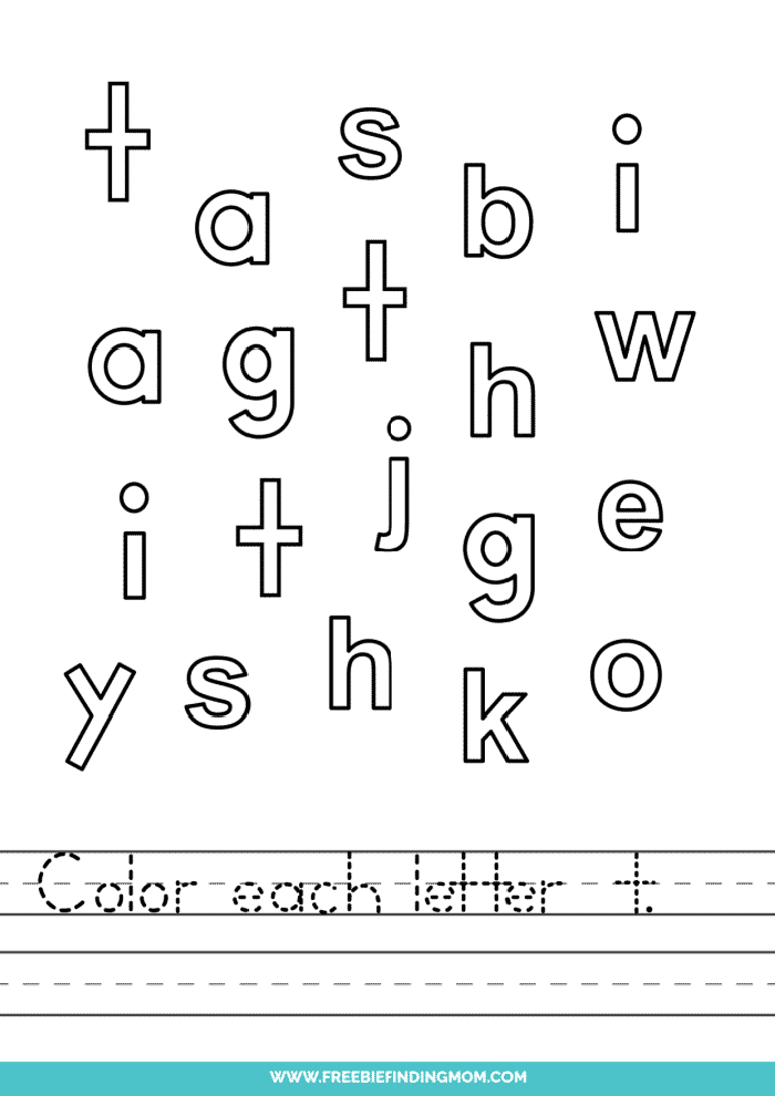printable lowercase T letter recognition worksheets PDF