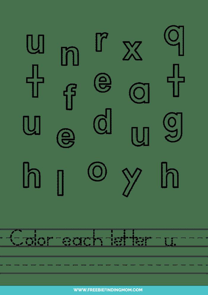 printable lowercase U letter recognition worksheets PDF