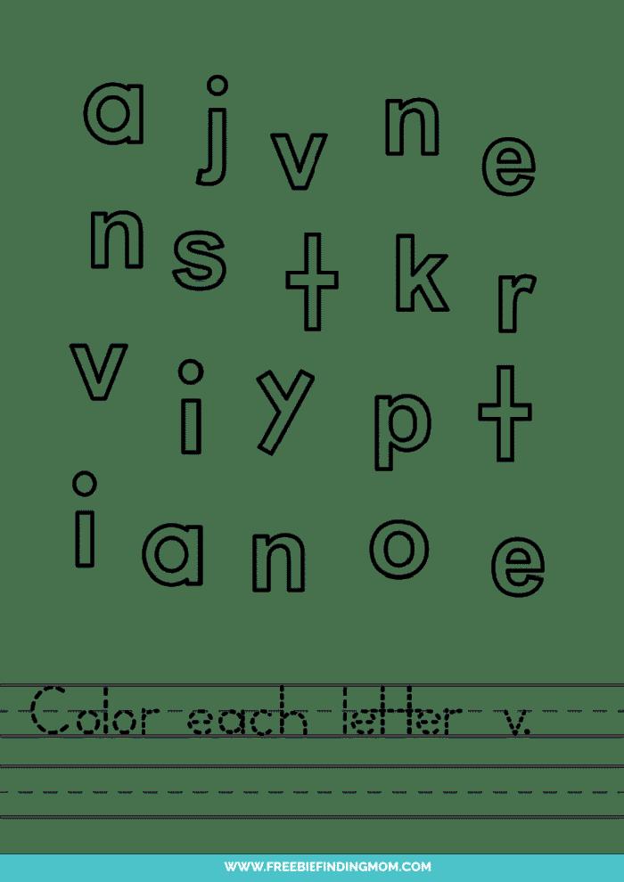 printable lowercase V letter recognition worksheets PDF