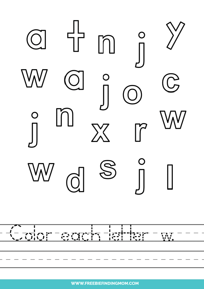 printable lowercase W letter recognition worksheets PDF