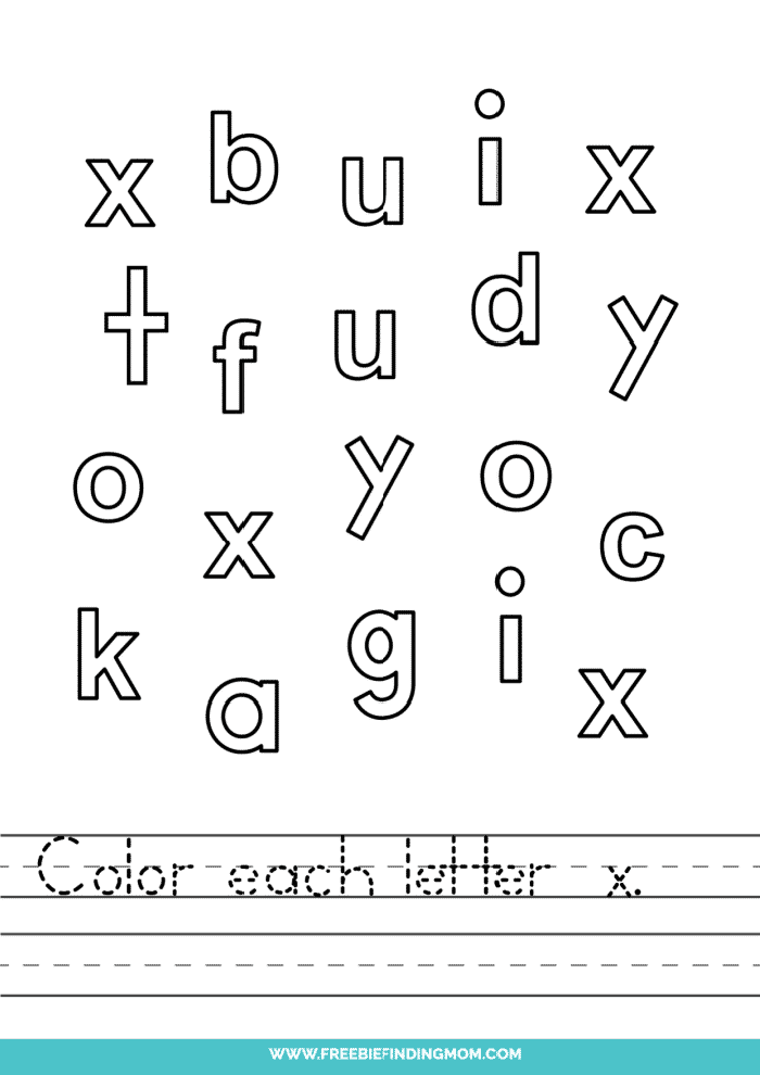 printable lowercase X letter recognition worksheets PDF