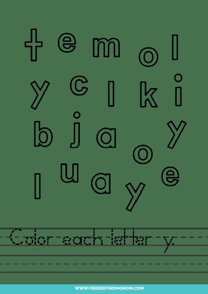 printable lowercase Y letter recognition worksheets PDF