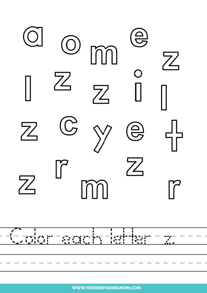 printable lowercase Z letter recognition worksheets PDF
