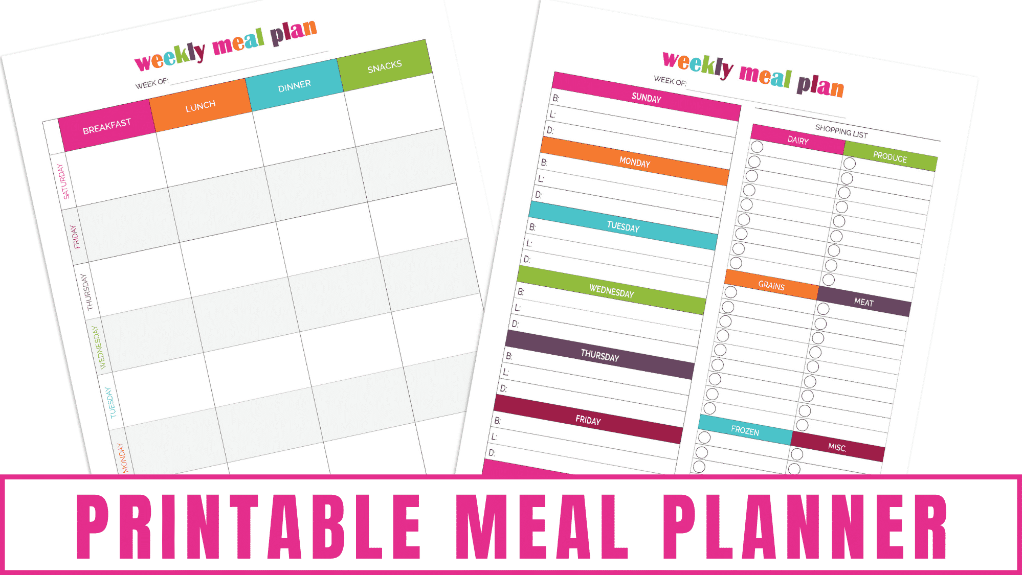 Are you trying to meal plan now that the kids are back in school? These printable meal planners allow you to record your breakfast, lunch, dinner and snacks plus jot down a grocery list. These printables will make meal planning a breeze.