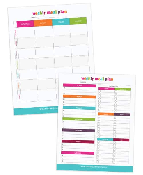 These simple to use printable meal planners will help you plan your family's daily meals and record a grocery list. By planning ahead you'll not only save money and calories but you'll reduce your stress too.