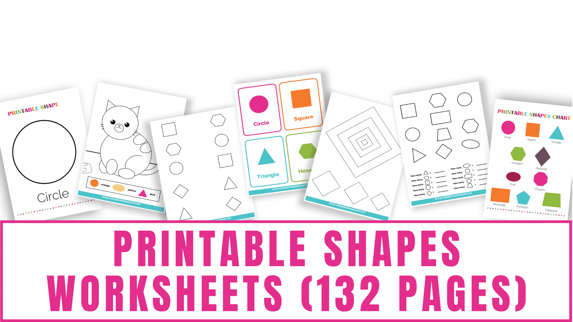 This 132-page printable shapes worksheets bundle is packed with shape tracing pages, matching shape pages, shape coloring pages, counting shape pages, shape pattern pages, printable shapes, 2D shape charts, and shape flashcards.