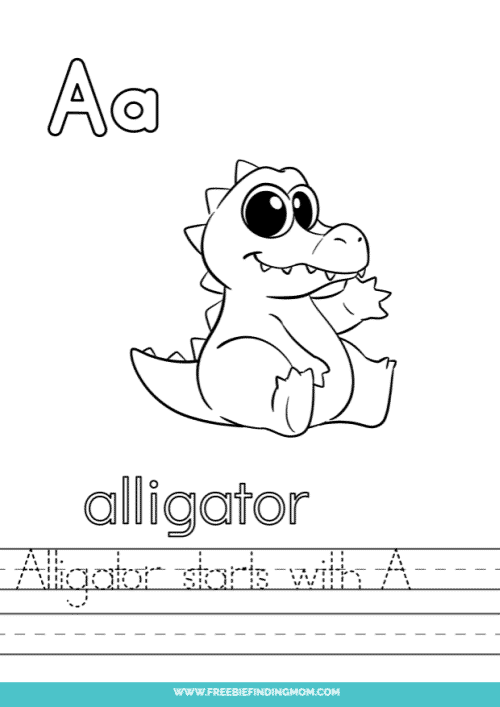 printable words that start with A worksheet