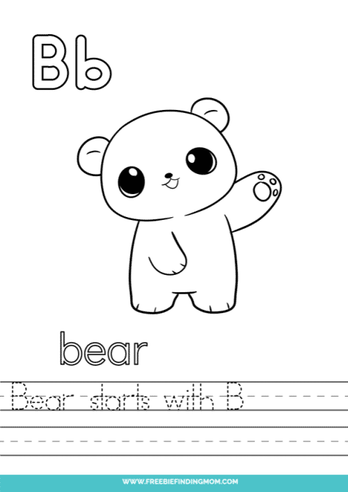 printable words that start with B worksheet