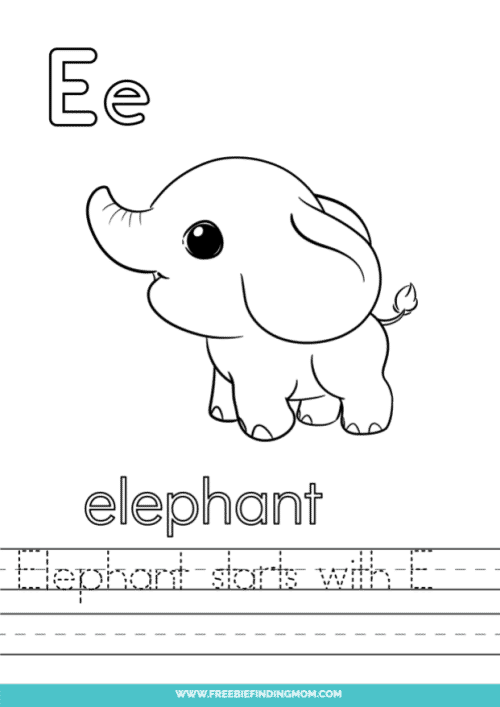 printable words that start with E worksheet