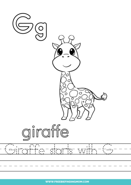 printable words that start with G worksheet