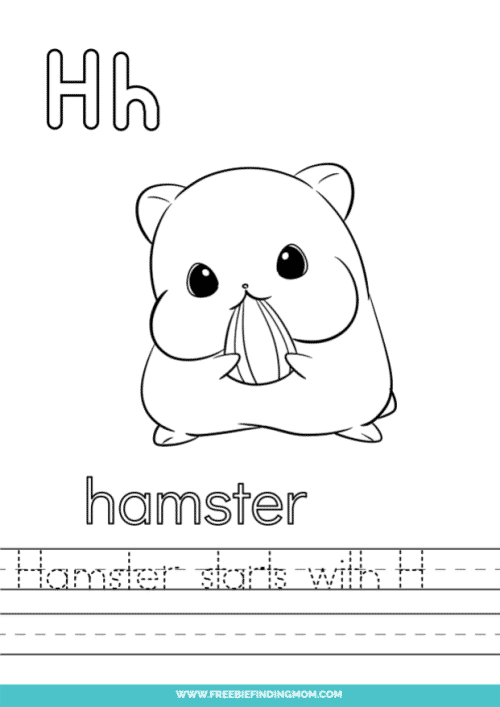 printable words that start with H worksheet