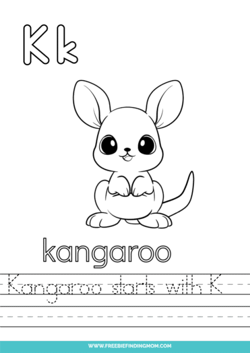 printable words that start with K worksheet