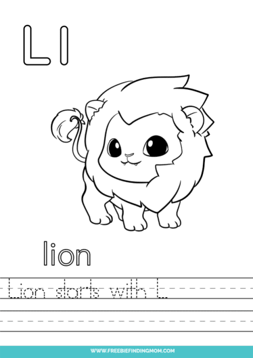 printable words that start with L worksheet