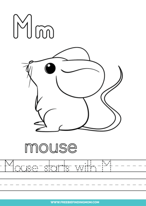 printable words that start with M worksheet
