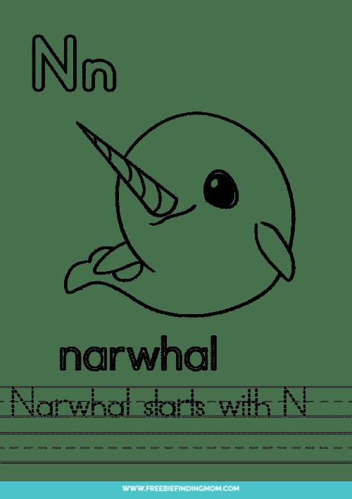 printable words that start with N worksheet